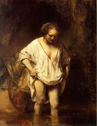 Rembrandt_Hendrickje_Bathing_in_a_River